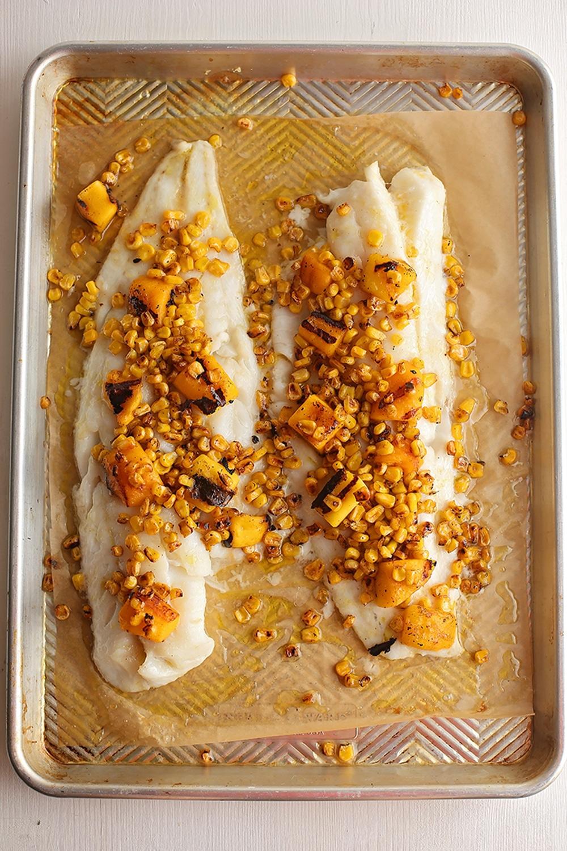 baking sheet with cod with mango glaze