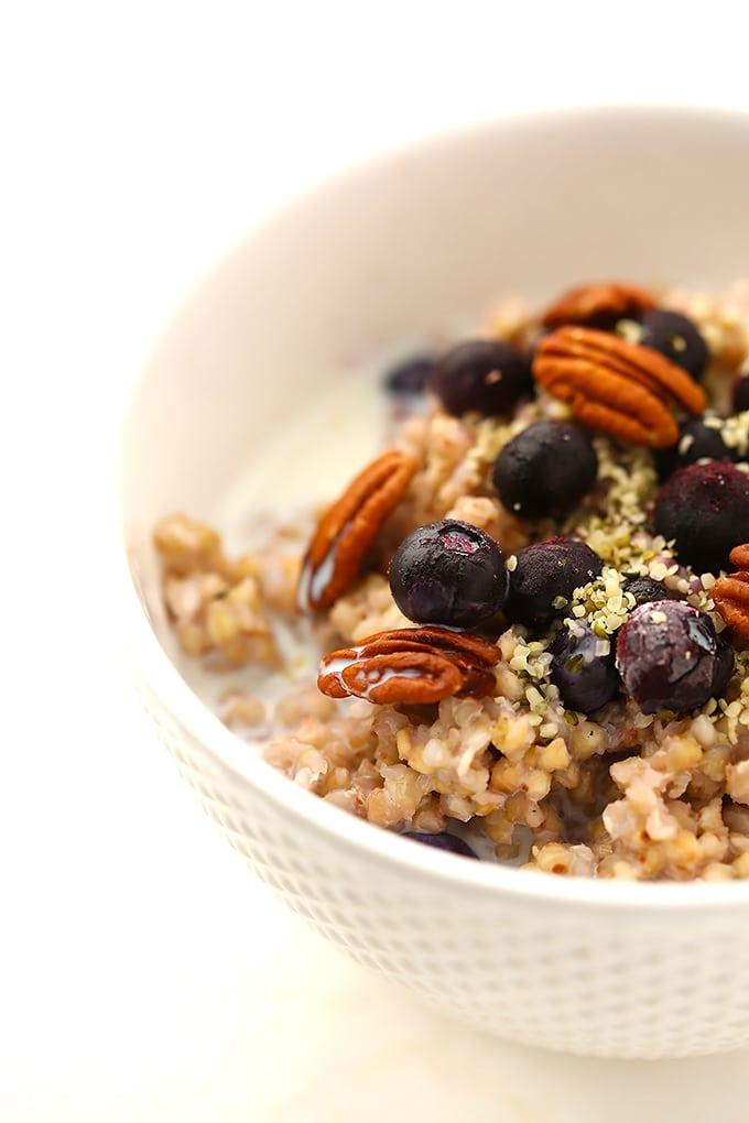 white bowl with buckwheat porridge