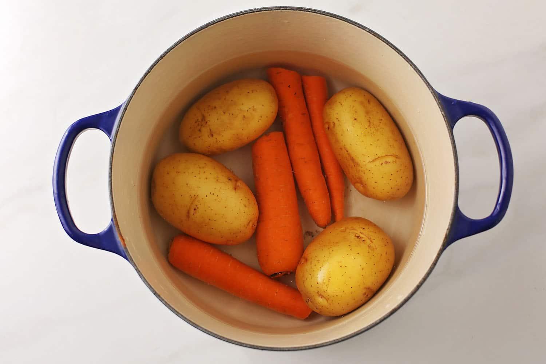 large pot with vegetables for salad