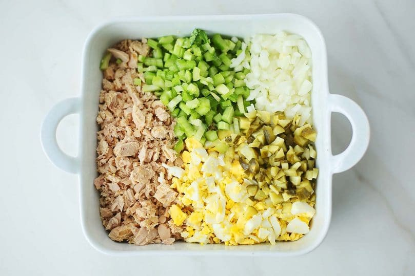 ceramic dish with diced ingredients to make salad