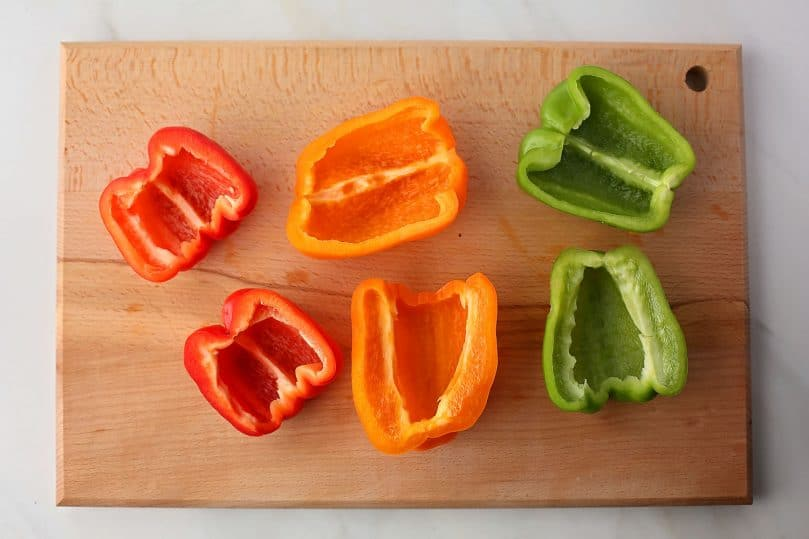 sliced bell peppers with seeds removed