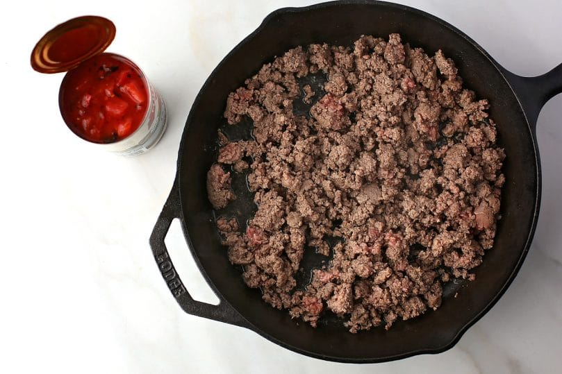 skillet with ground beef