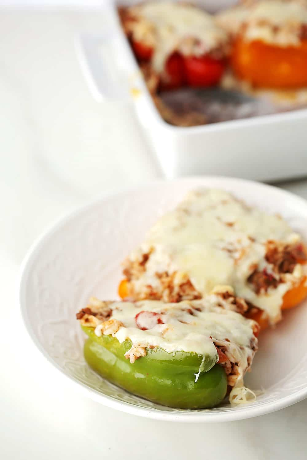 white plate with Stuffed Peppers