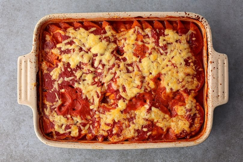 casserole dish filled with freshly baked sweet potato lasagna