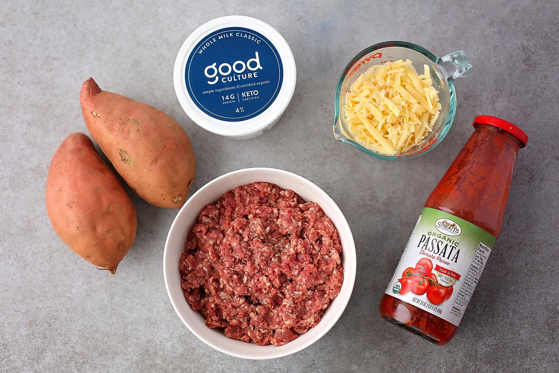 ingredients to make lasagna, sweet potato, ground beef, tomato sauce