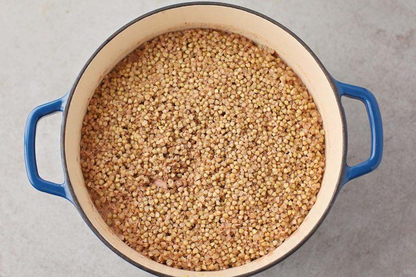 cooked buckwheat groats inside the pot