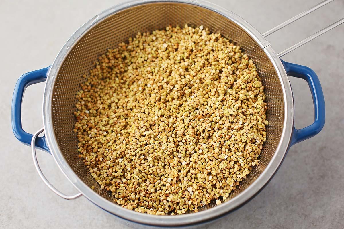 colander with buckwheat