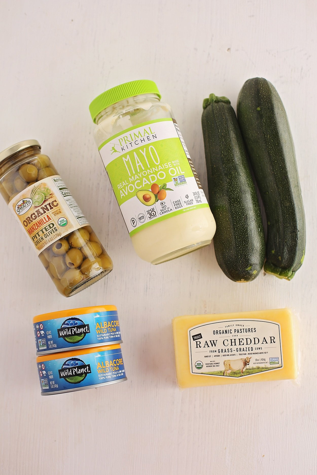 ingredients for oven baked zucchini tuna boats