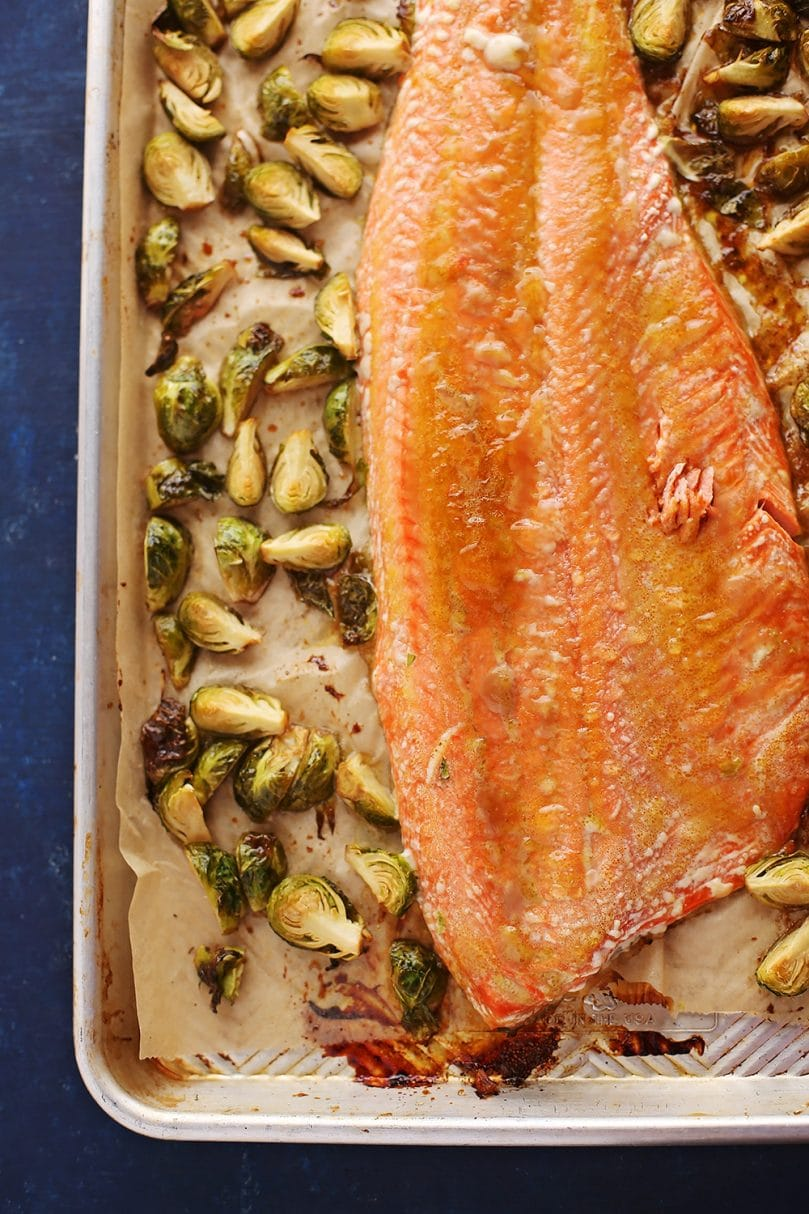 roasted salmon with brussels sprouts in a sheet pan