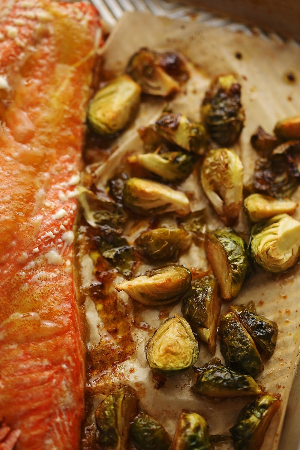easy roasted salmon with brussels sprouts