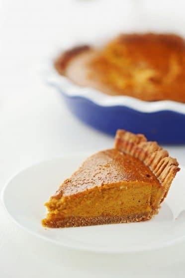 slice of pumpkin pie on the plate