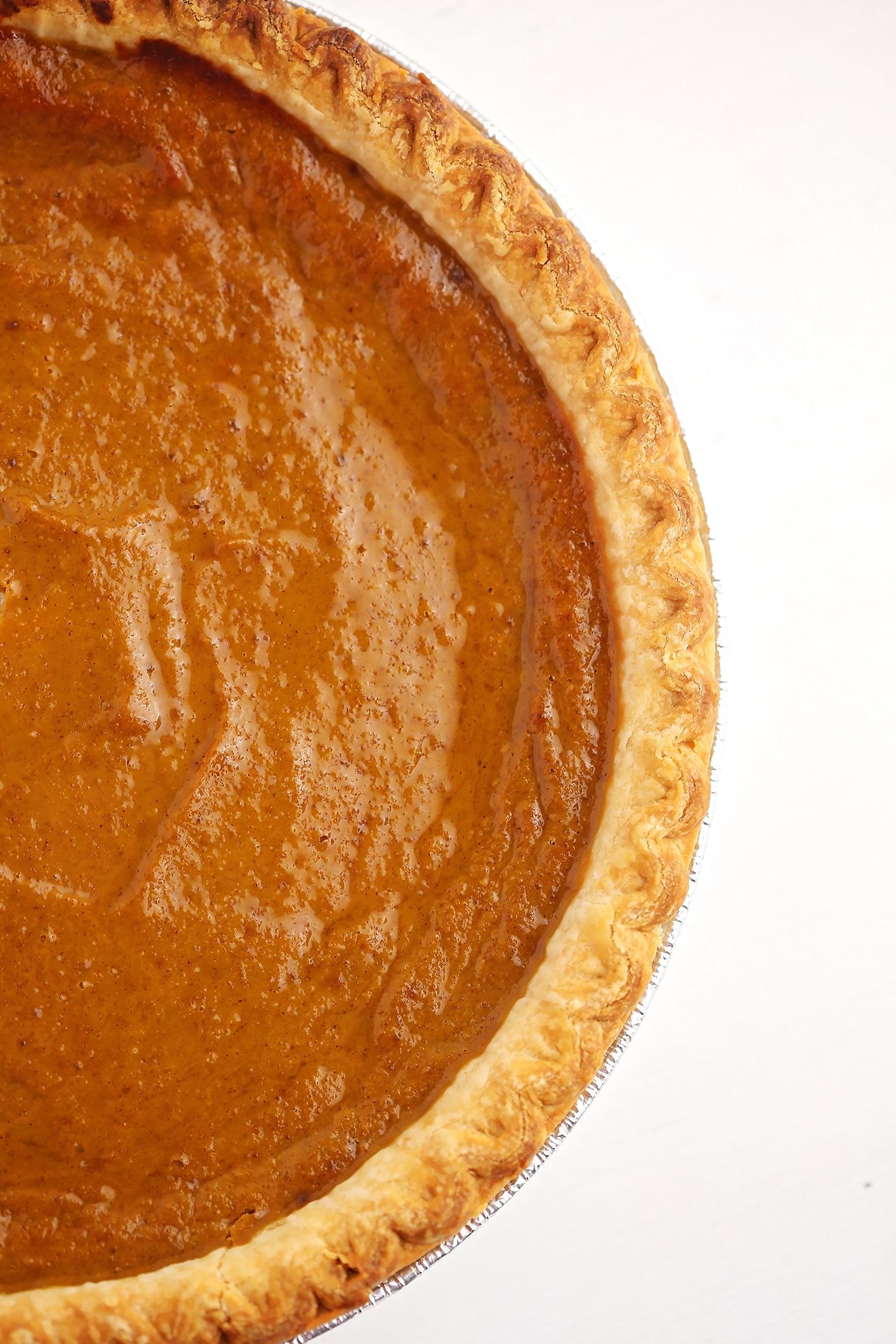 freshly baked pie in the pie dish