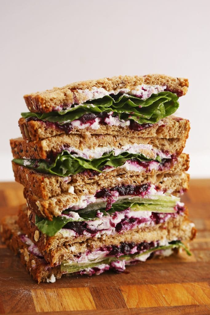 Goat Cheese Sandwich with Wild Blueberry Jam
