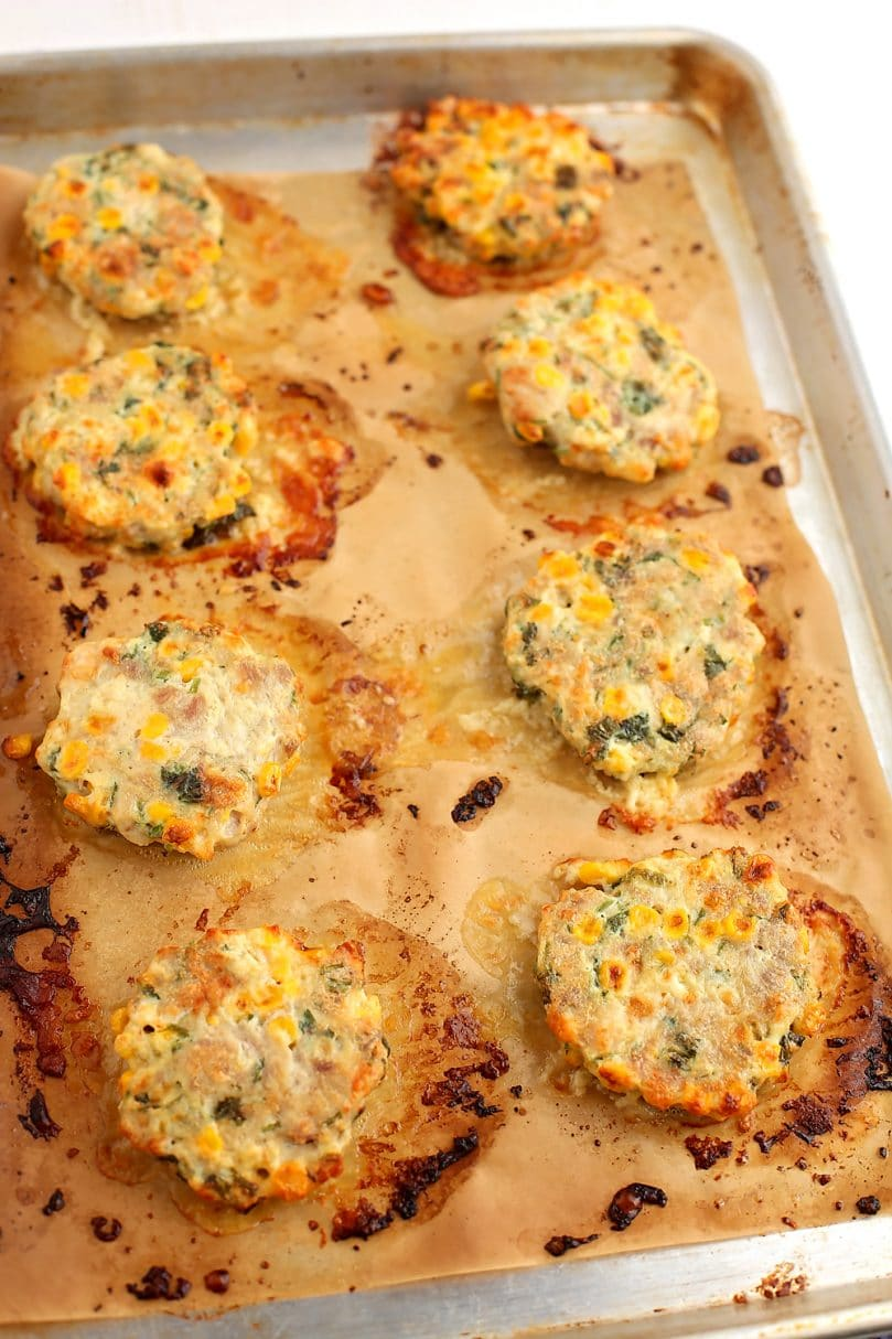 sheet pan with Baked Chicken Fritters on the baking sheet