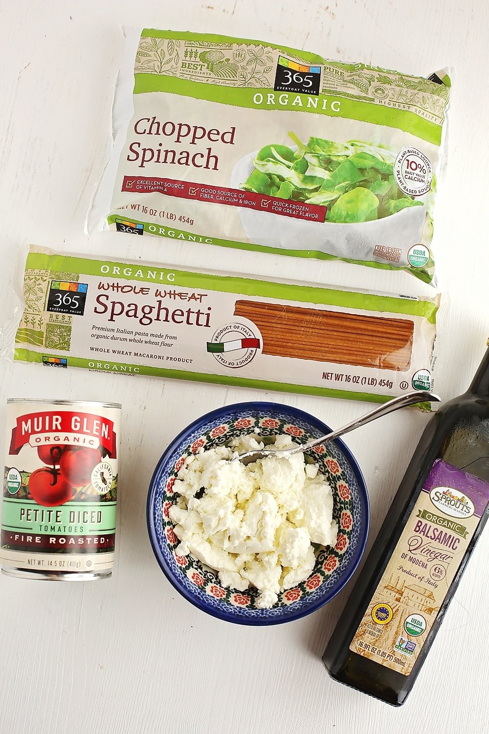 ingredients to make Pasta with Goat Cheese and Spinach