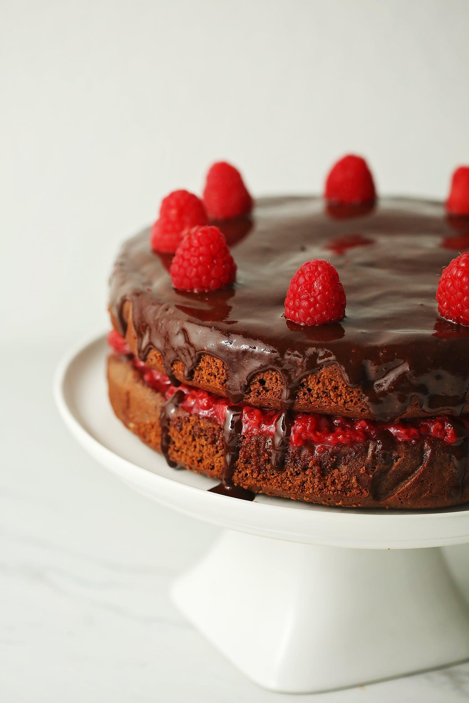 gluten free chocolate cake with raspberries