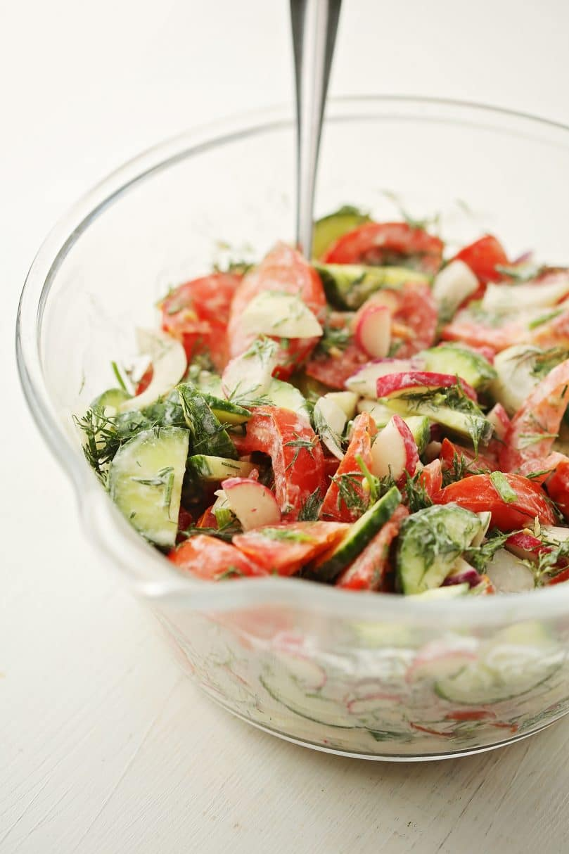 glass mixing bowl with salad with vegatables