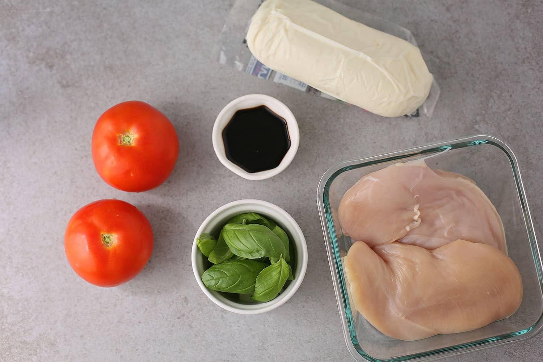 ingredients for chicken mozzarella bake