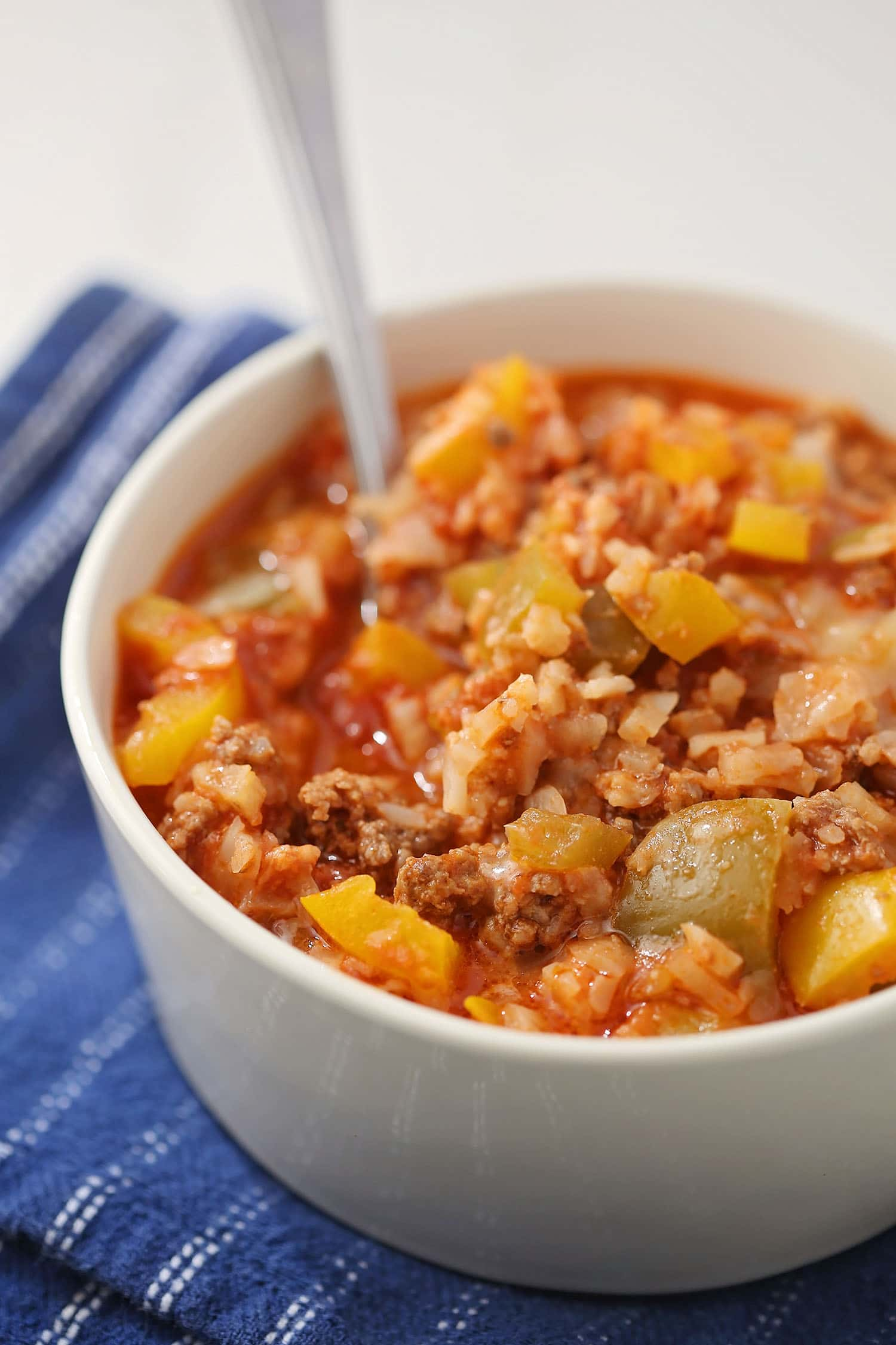 Low Carb Unstuffed Pepper in the serving bowl