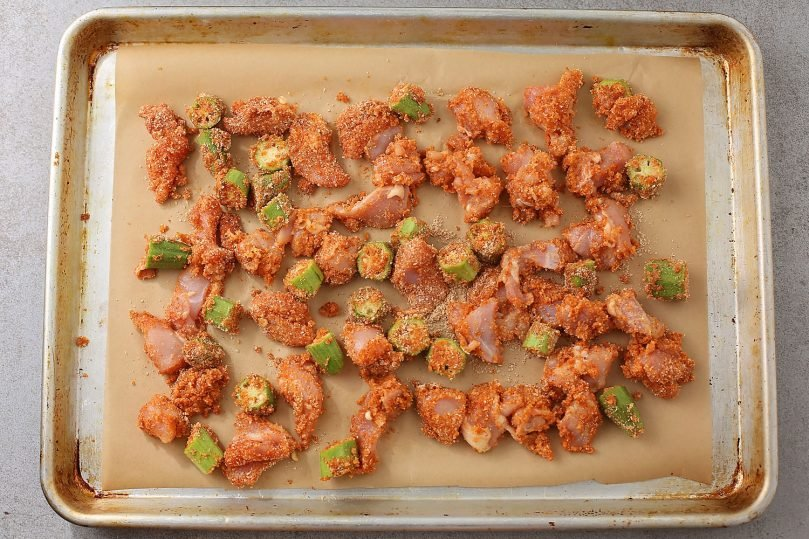baking sheet with okra and chicken