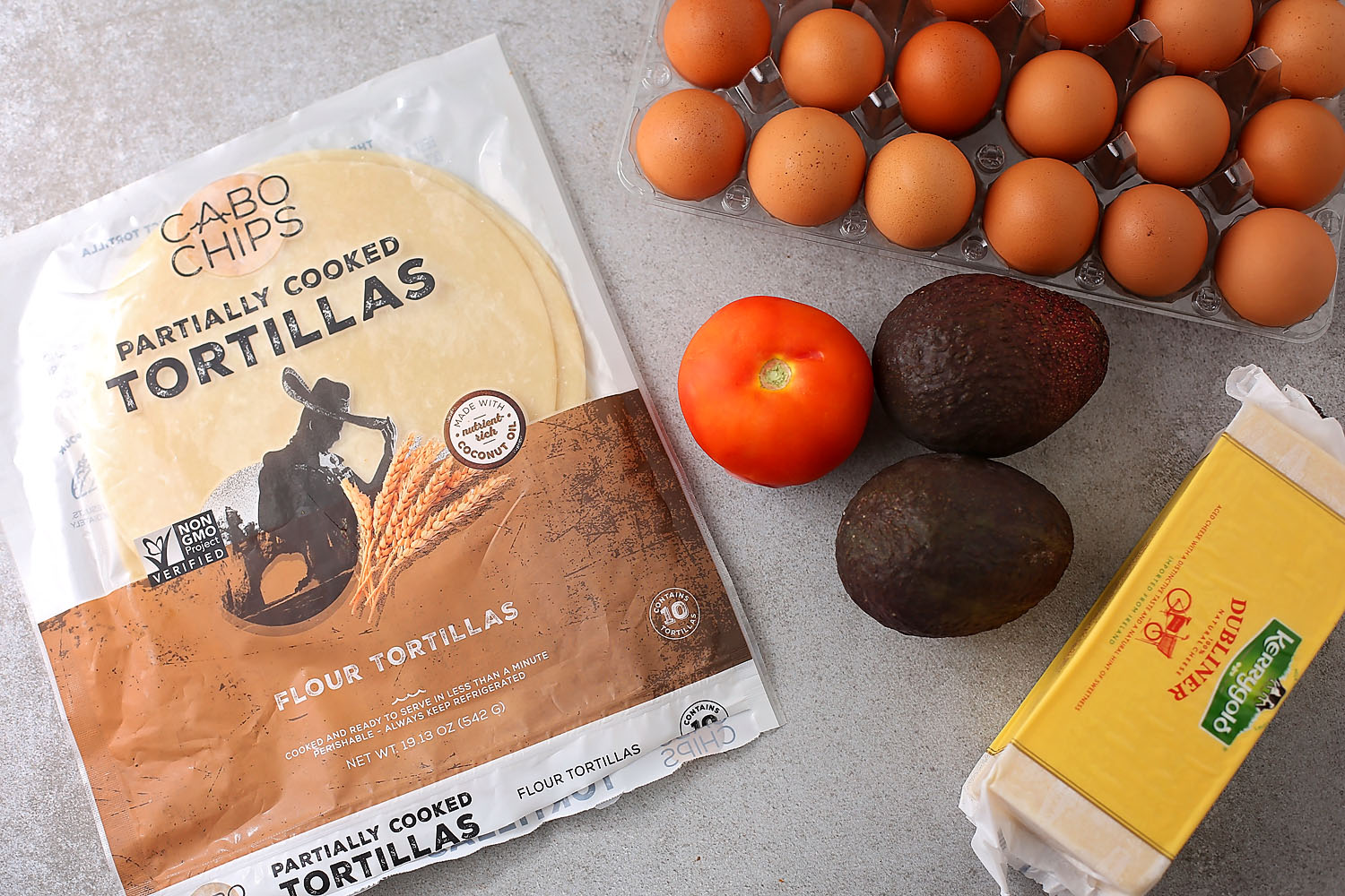 ingredients for healthy breakfast tacos with avocado