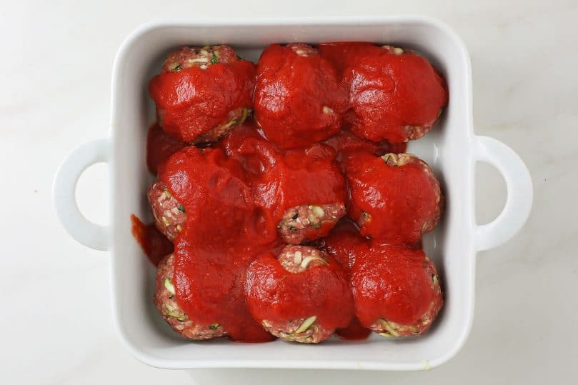 meatballs with tomato sauce in the baking dish