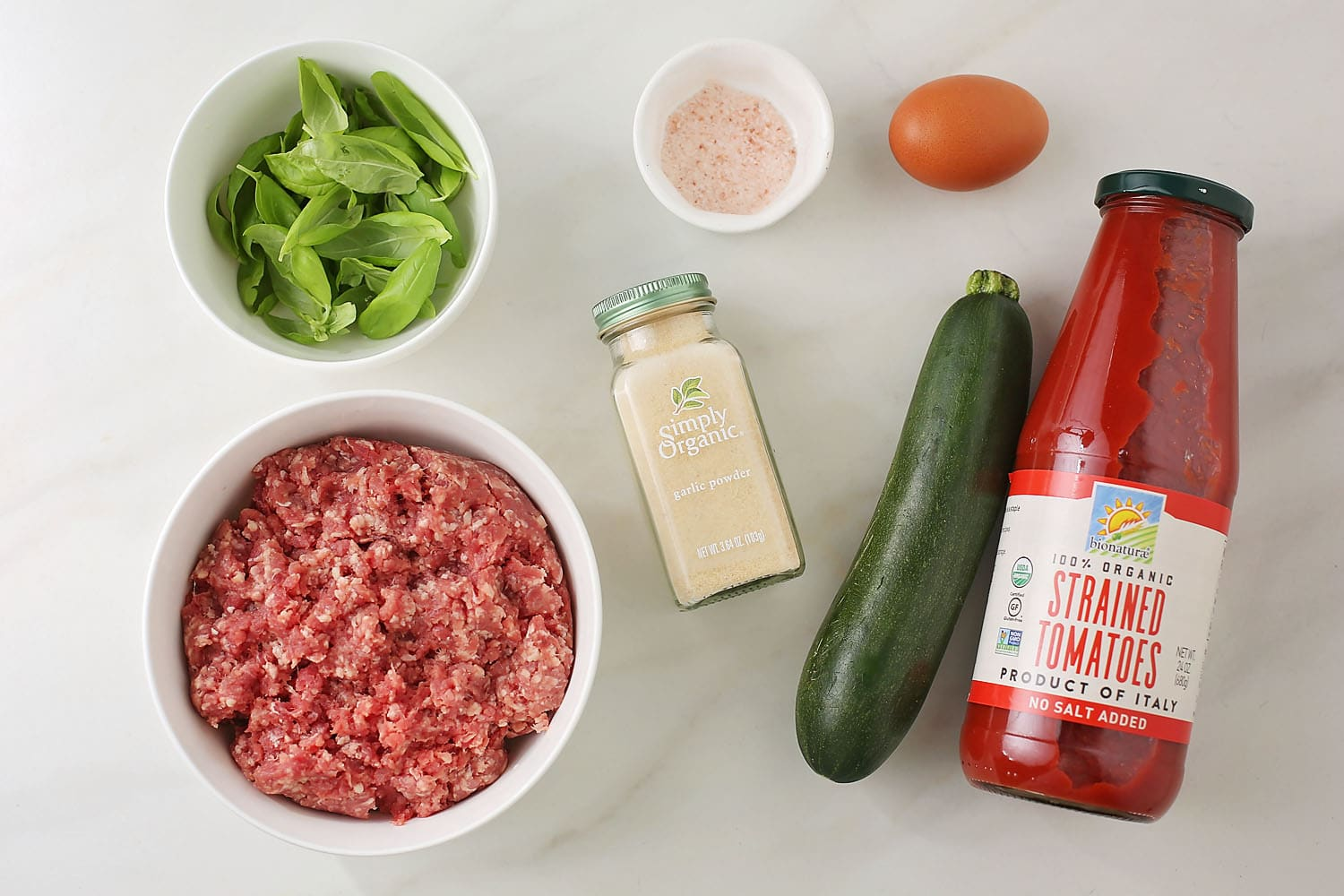 ingredients for zucchini beef meatballs