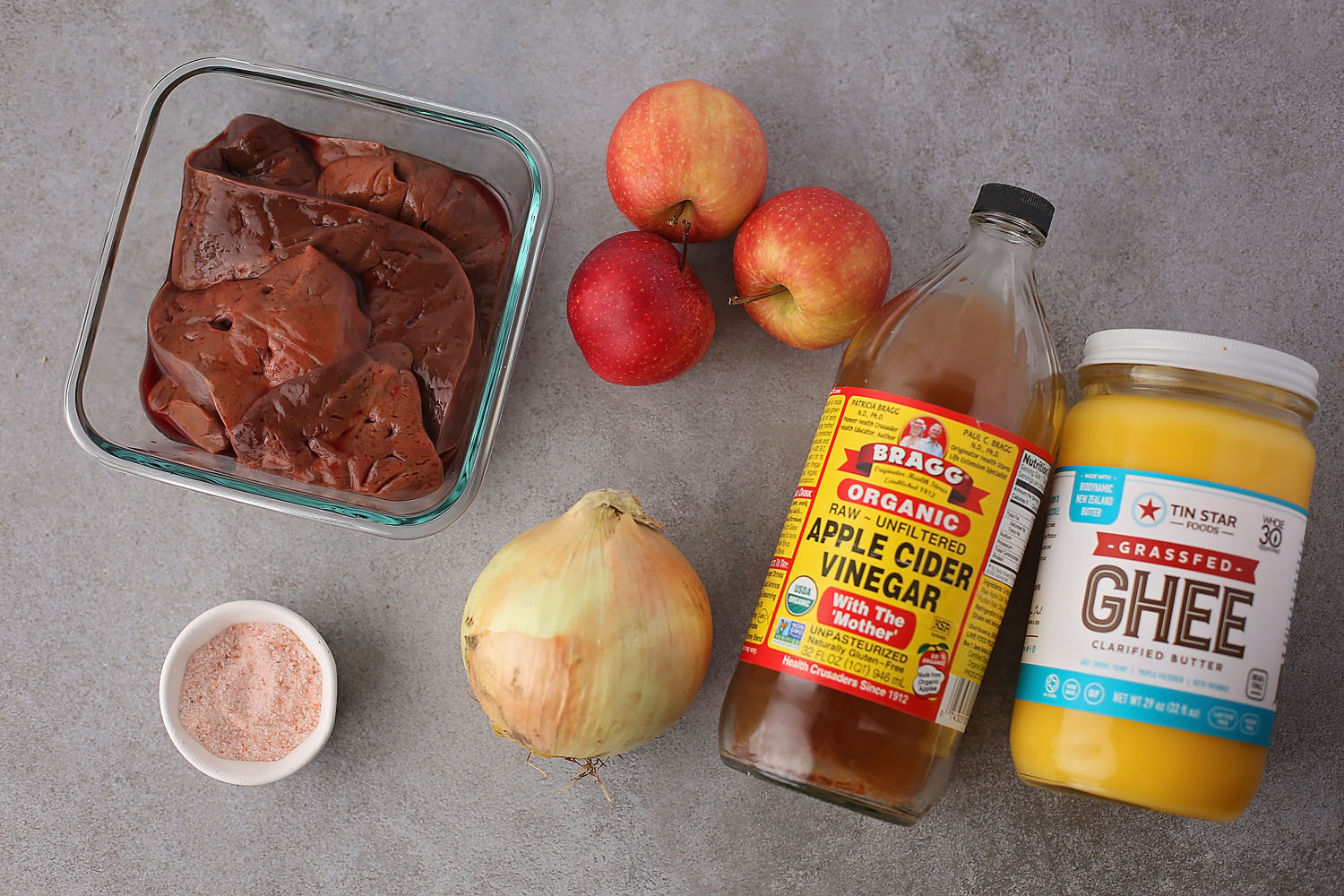 ingredients to make Liver and Onions with Apples