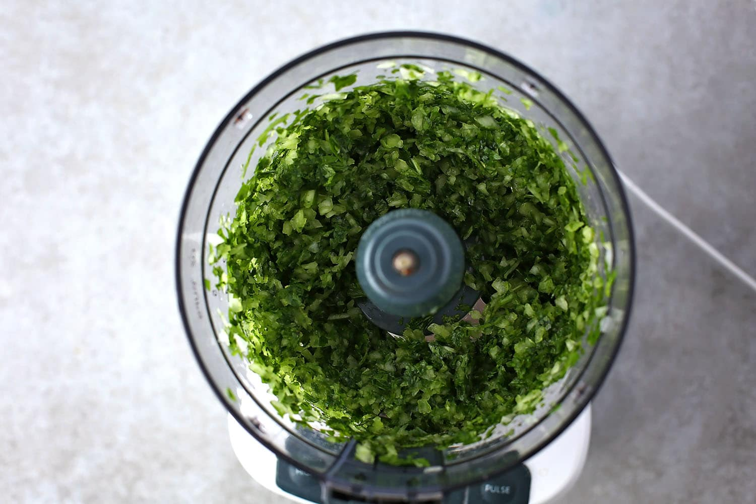 food processor with minced onion and cilantro