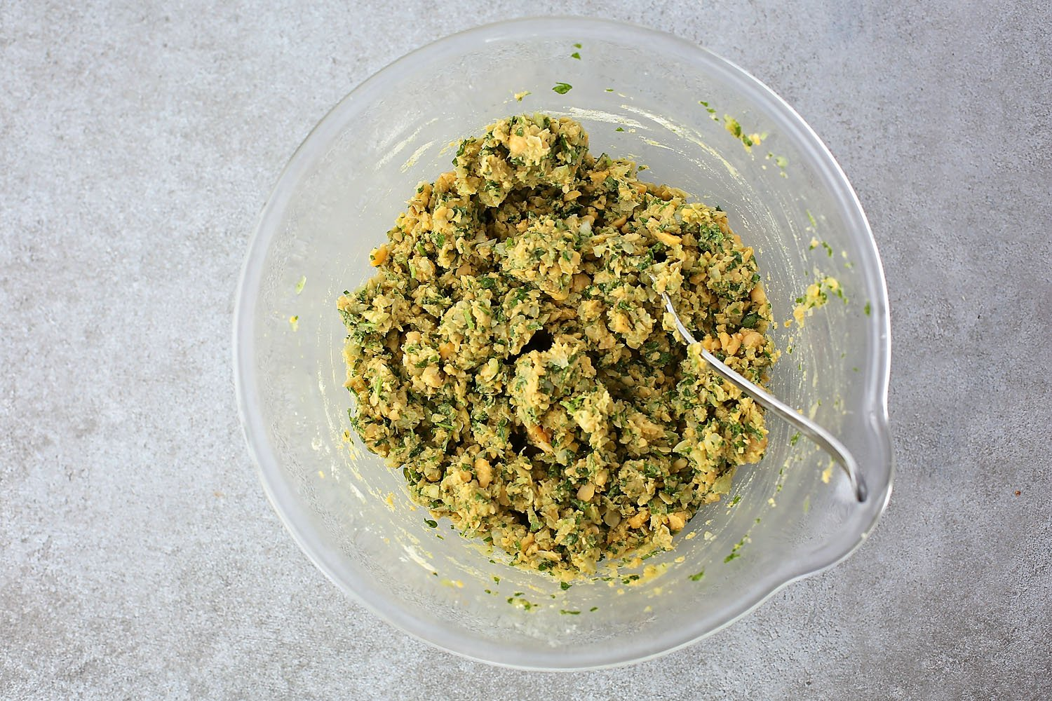 mixture in the bowl to make falafel