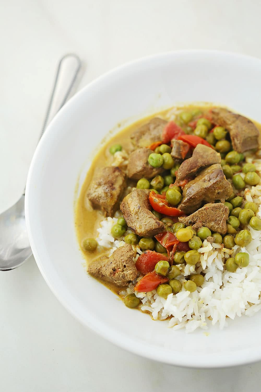 plate with Beef Liver Curry and rice