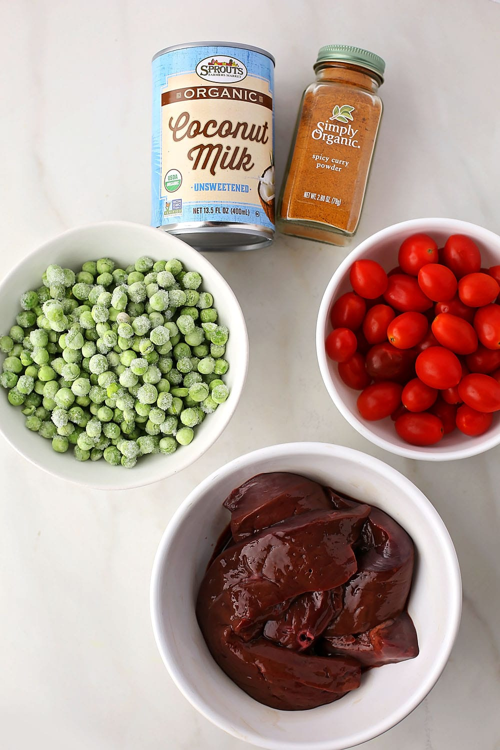 ingredients to make Beef Liver Curry
