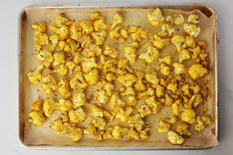 sheet pan with yellow cauliflower