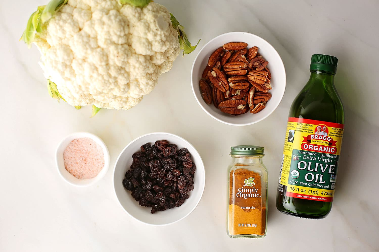 ingredients to make curry roasted cauliflower with raisins
