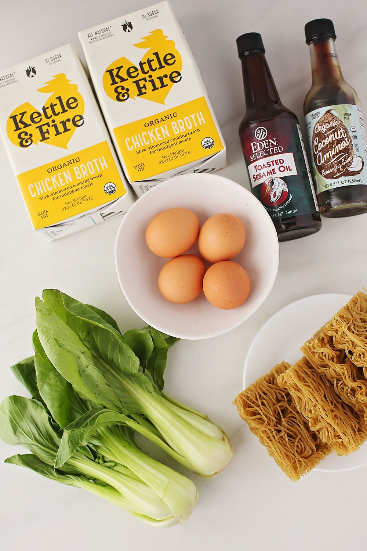 ingredients to make easy ramen broth bowls