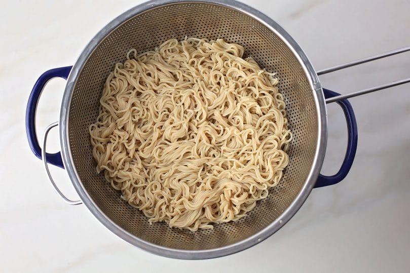 freshly cooked noodles in the pan