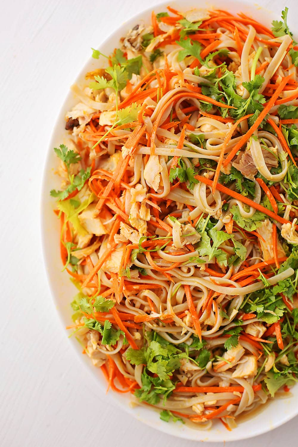plate with noodles mixed with shredded carrots and cilantro