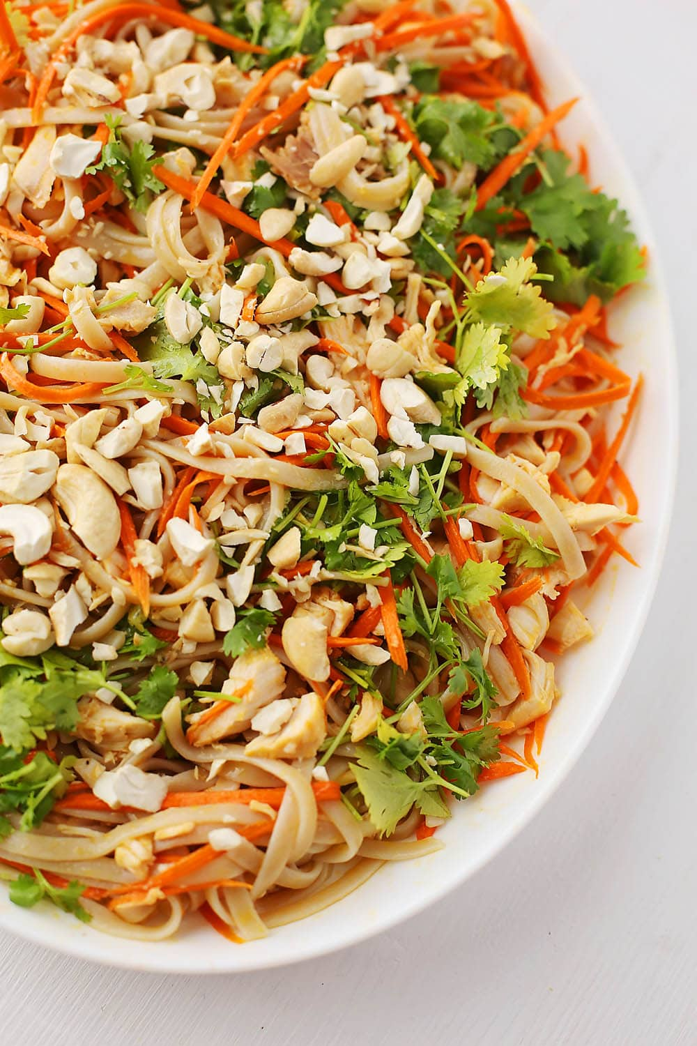 white plate with noodles, carrots, sesame oil and cilantro