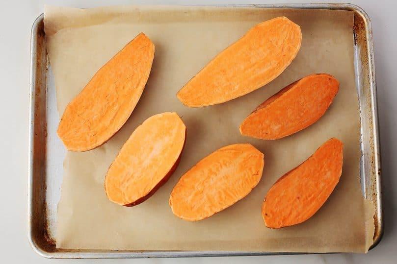 sheet pan with sweet potatoes