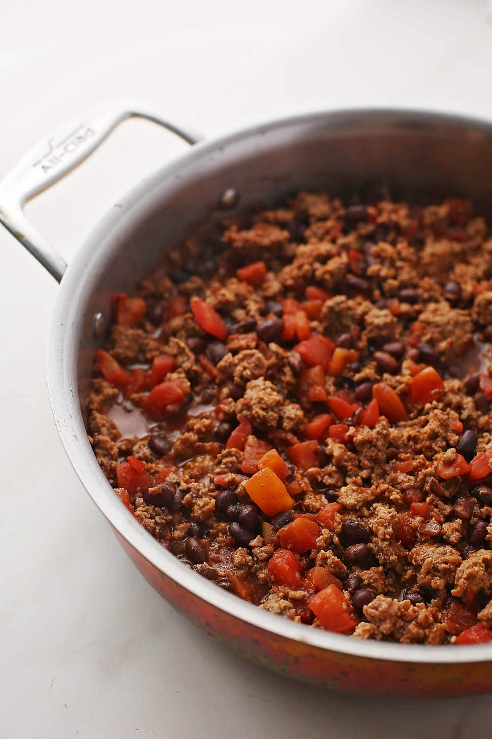 meat sauce in the skillet