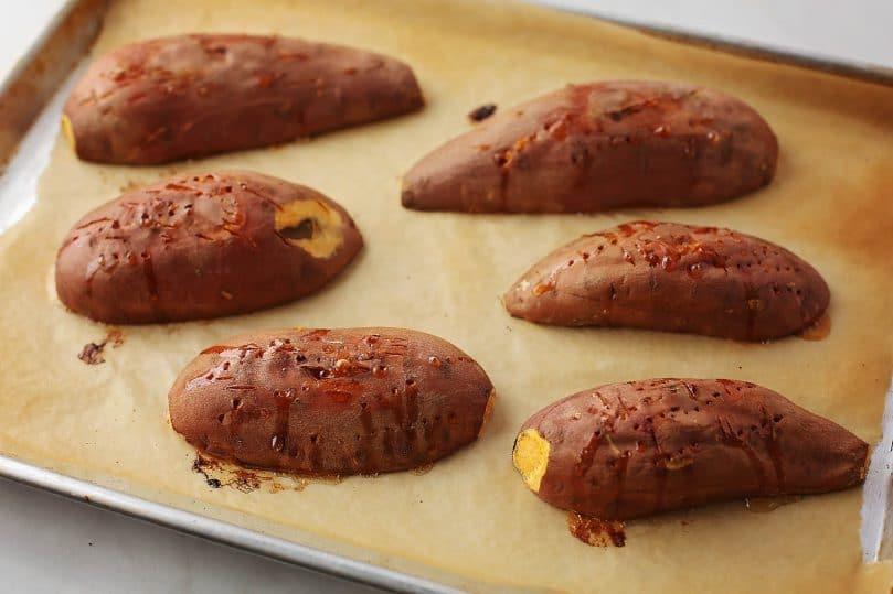 baked potatoes on the sheet pan