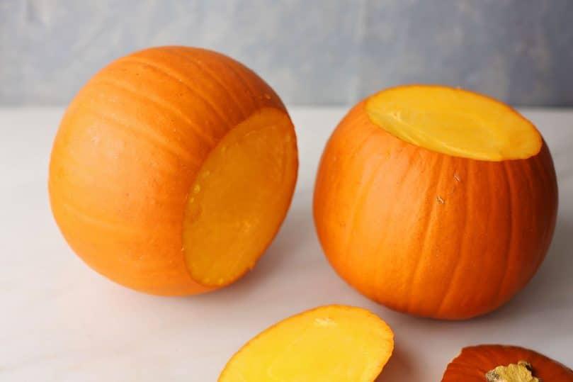 pumpkin with sliced top