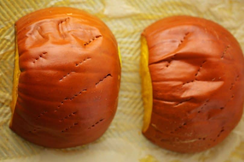sheet pan with baked pumpkin halves