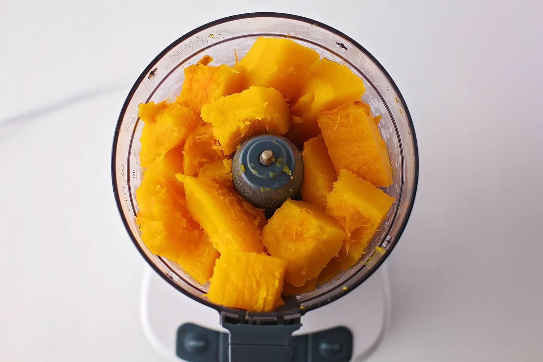 pumpkin chunks inside food processor
