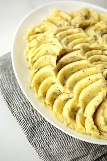 large plate with styled mashed Potatoes