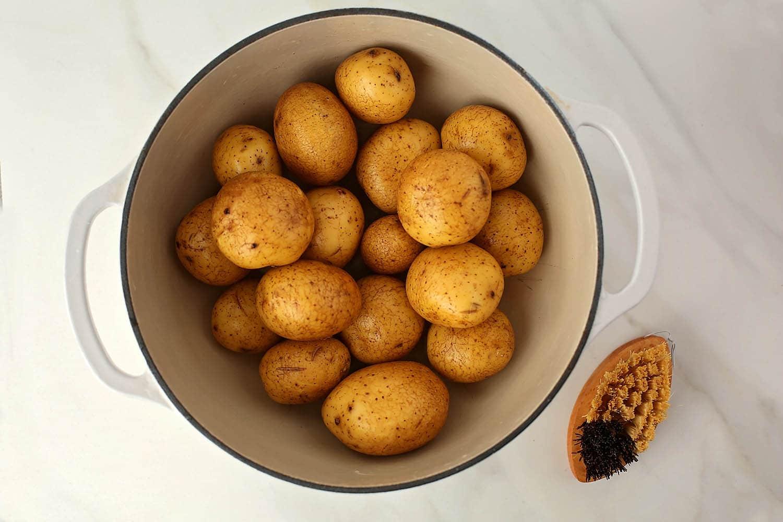 large pot with potatoes