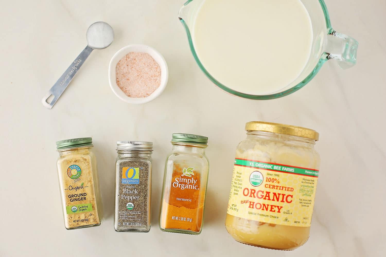 ingredients for turmeric milk