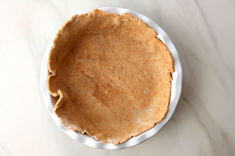 dough in a round baking pan