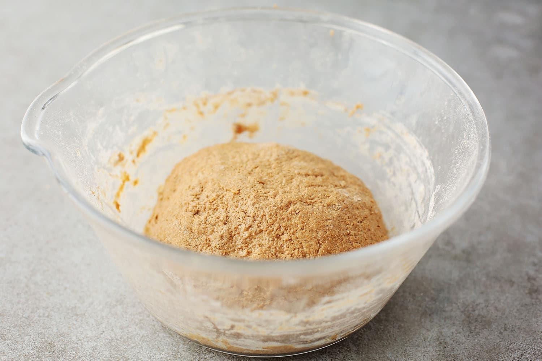 mixing bowl with bun dough