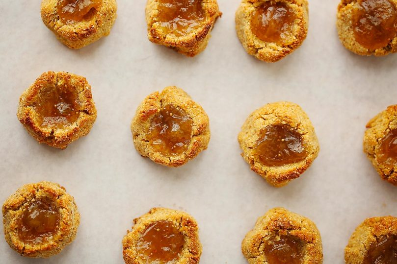 tray with freshly baked thumbprint cookies